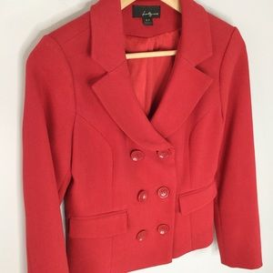 Forever 21 red double breasted cropped blazer